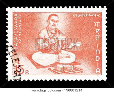 INDIA - CIRCA 1967 : Cancelled postage stamp printed by India, that shows Basaveswara.