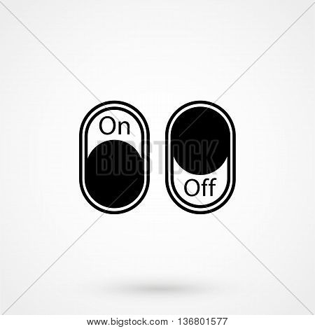 On,off Switch Icon On White Background In Flat Style. Simple Vector