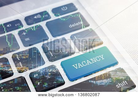 VACANCY : Close up green button keyboard computer.