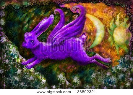 violett flying dreamy rabbit in fairy-tale land, illustration.