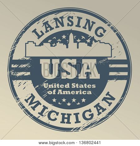 Grunge rubber stamp with name of Michigan, Lansing, vector illustration