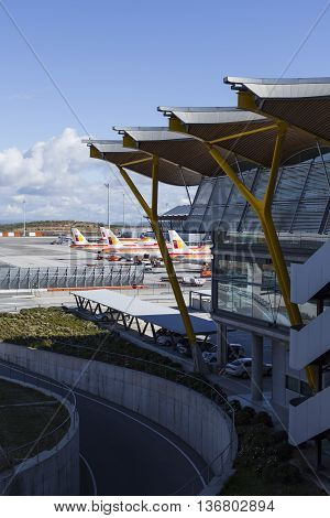 Madrid, Spain - February 16: Madrid Barajas Airport, Main International Airport Of The Capital Of Sp