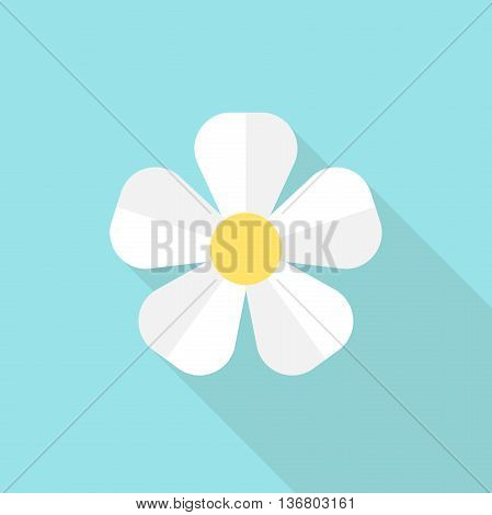 White flower on blue background. Icon with long shadow. Flat design. Vector illustration. EPS 8 no transparency