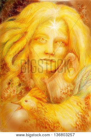 golden fairy girl with harp and rooster, drawing.