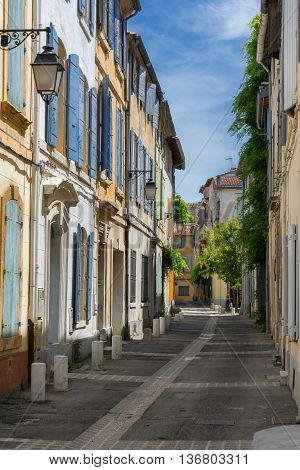Colorful street in the city of Arles
