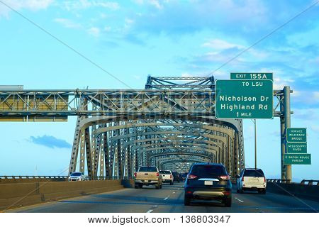 Horace Wilkinson Bridge in Mississippi river at Baton Rouge of Louisiana USA