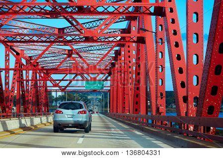 Jacksonville red bridge in florida USA way to Atlantic Beach