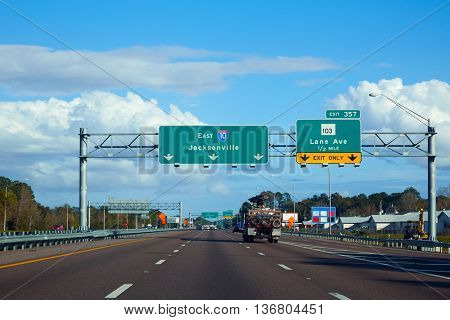 I-10 interstate in Jacksonville Florida USA with traffic cars US
