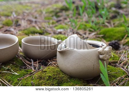 Tea Set On The Ground