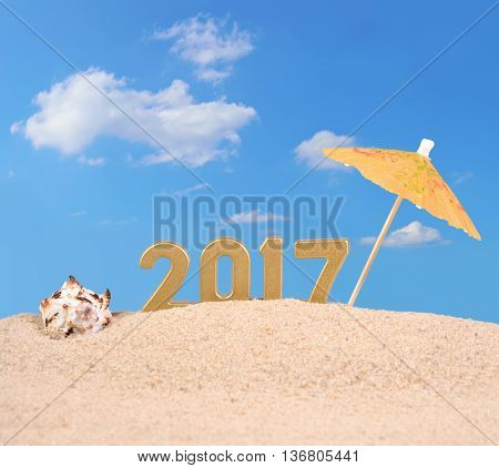 2017 Year Golden Figures With Seashell