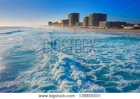 Daytona Beach in Florida shore buildings of USA