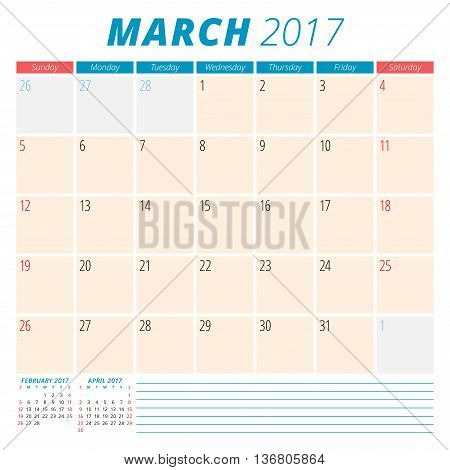 March 2017. Calendar Planner For 2017 Year. Week Starts Sunday. Stationery Design. 3 Months On Page.