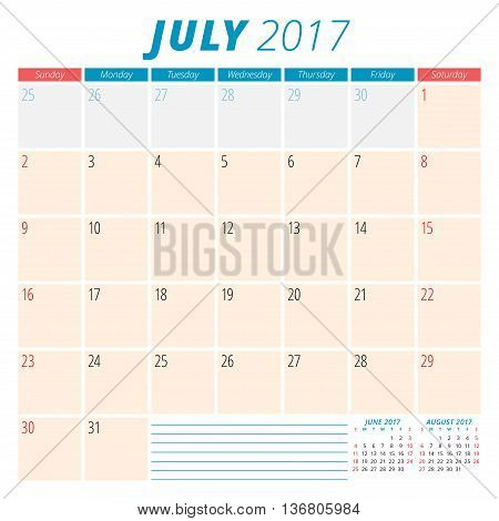 July 2017. Calendar Planner For 2017 Year. Week Starts Sunday. Stationery Design. 3 Months On Page.