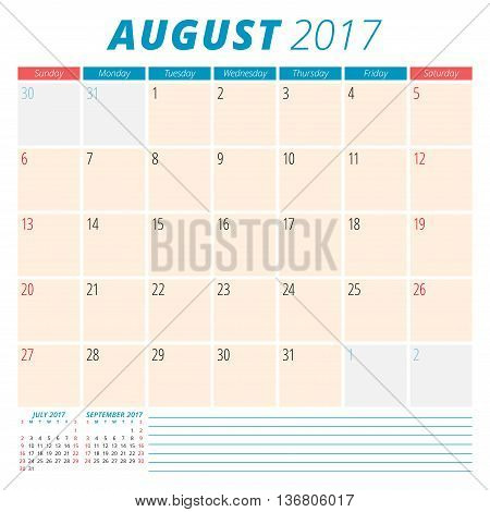 August 2017. Calendar Planner For 2017 Year. Week Starts Sunday. Stationery Design. 3 Months On Page