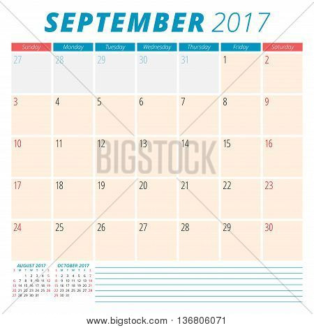 September 2017. Calendar Planner For 2017 Year. Week Starts Sunday. Stationery Design. 3 Months On P