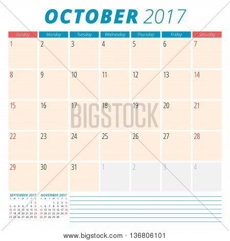 October 2017. Calendar Planner For 2017 Year. Week Starts Sunday. Stationery Design. 3 Months On Pag