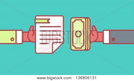 The process of payment. Rent salary costs. Wages and income. The receipt of money. Icon contract and payment. The conclusion of the contract. The pay button. Vector