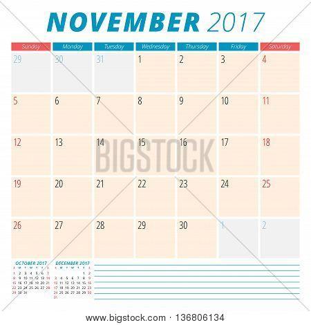 November 2017. Calendar Planner For 2017 Year. Week Starts Sunday. Stationery Design. 3 Months On Pa