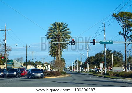 Atlantic Beach in Jacksonville of florida USA traffic and palm trees road