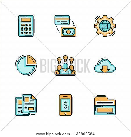 Icons with business related things. Colored flat vector illustration. Icons isolated on white background. Mechanism process ideas money folder documents files calculator finance.