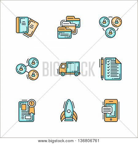 Icons with business related staff. Colored flat vector illustration. Icons isolated on white background. Notebook folders team collaboration reporting logistics notes winners leader rocket smartphone