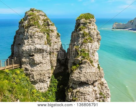 Tops of white chalk cliffs - Cote d'Albatre or Alabaster Coast is part of the French coast of the English Channel. Etretat, France