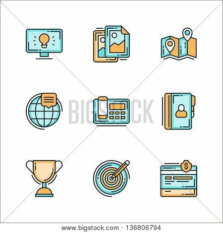 Set of icons with business related staff means of communication. Colored flat vector illustration. Icons isolated on white background. Idea design worldwide phone winner cup target finance phonebook map route