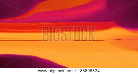 Waves of red and yellow light on black background. Design background or abstract background with copy space.