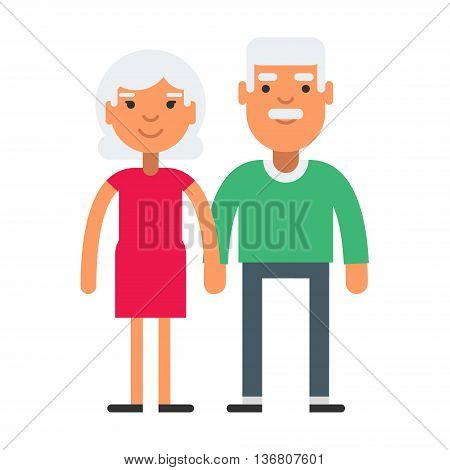 Elderly cute couple with gray hair. Coloured flat vector illustration isolated on white background.