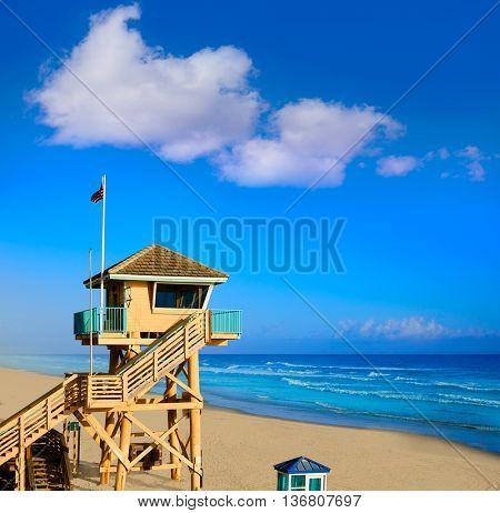 Daytona Beach in Florida baywatch tower in USA