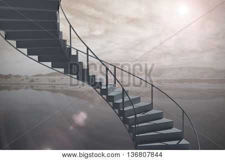 Image of isolated stairs against lake
