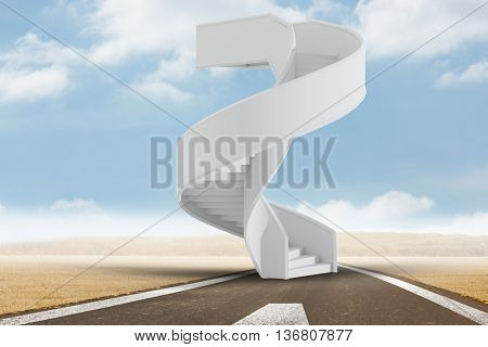 Image of isolated stairs against road landscape