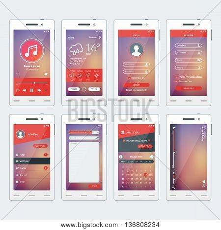 Set of vector illustrations of modern smartphone with apps. Flat design template for mobile apps. White smartphones. Vector illustration