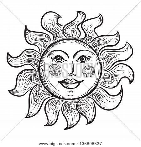 Astrology Symbol of Sun with Rays Stylized as Engraving. Ornamental doodle illustration isolated on white background.