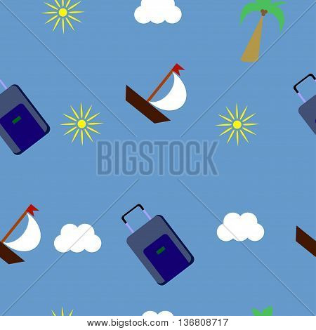 Tourism and recreation with boats, suitcases, sun and cloud. Seamless pattern. In random order.
