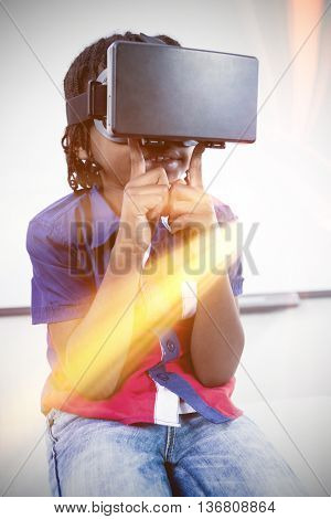 Little boy holding virtual glasses on white backgrounnd