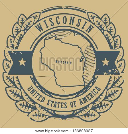Grunge rubber stamp with name and map of Wisconsin, USA, vector illustration
