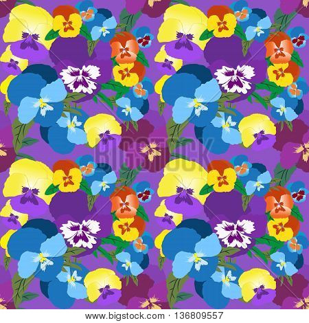 Seamless Pansy Floral Pattern. Summer colorful flower background for design fabric print textile