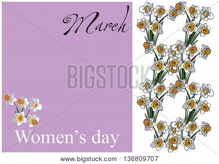 lilac card with white daffodils in the form of the number 8 with the words women's day and March
