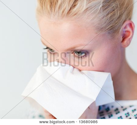 Young Patient with the flu in a hospital