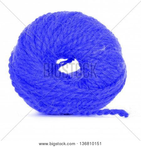 Clew of yarn tangled skein isolated on white background