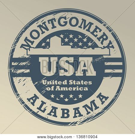 Grunge rubber stamp with name of Alabama, Montgomery, vector illustration