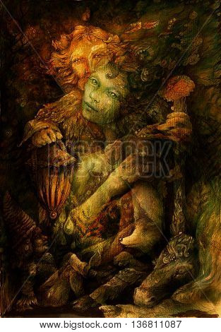 two elves deep inside enchanted nature realm, illustration.