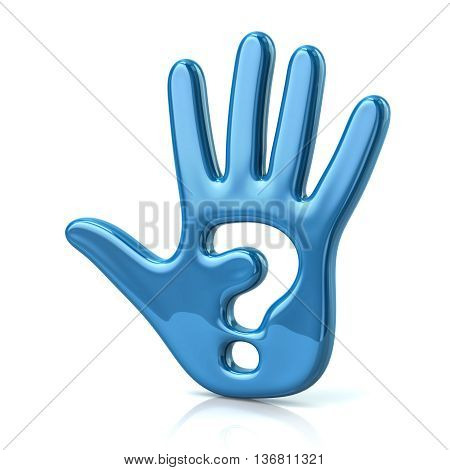 3D Illustration Of Blue Hand And Question Mark