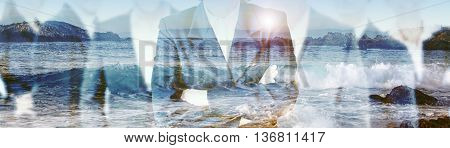 double exposure of businesspeople and beach with waves