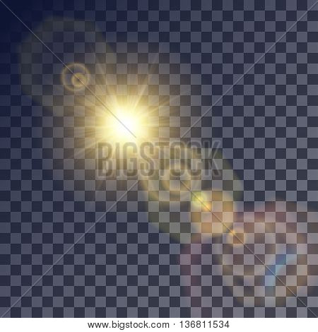 Shining vector golden sun with colorful light effects. Flares and gleams rounded and hexagonal shapes blue glint.