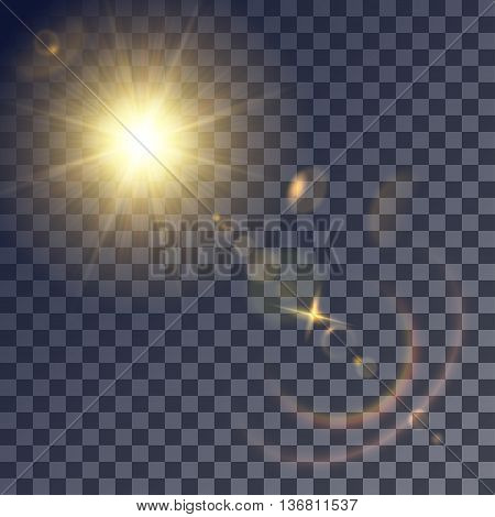 Shining vector golden sun with lens effects. Flares and gleams rounded and hexagonal shapes colored halo.