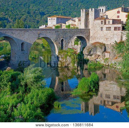 Medieval Town With Bridge. Besalu, Catalonia, Spain