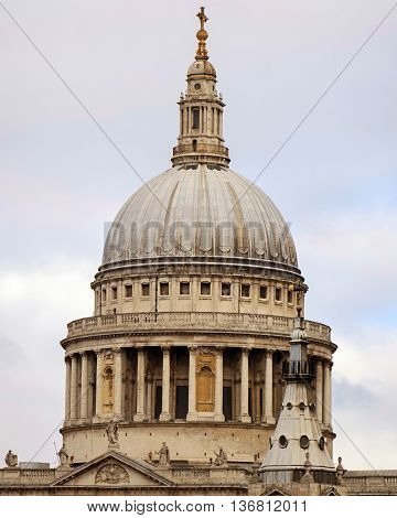 Historic St Pauls  cathedral dome in London,UK.
