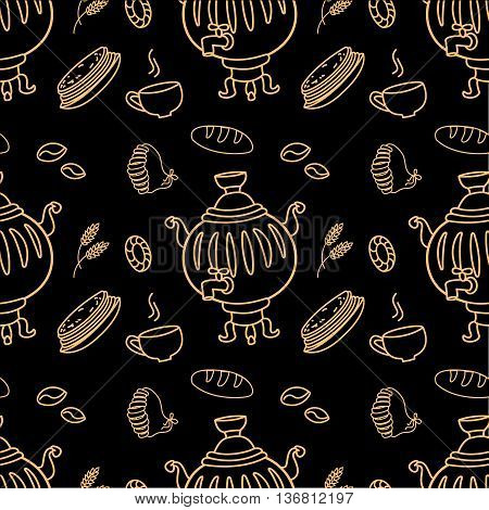 Seamless pattern with Russian traditional food and Samovar on black vector illustration